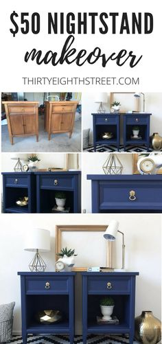 Modern Painted Nightstands With Country Chic Paint – Furniture Makeover & Furniture Design Redo Furniture, Painted Bedside Tables, Refinishing Furniture, Furniture Rehab, Furniture Design, Refurbished Furniture, Furniture Makeover Diy, Country Chic Paint, Painted Night Stands