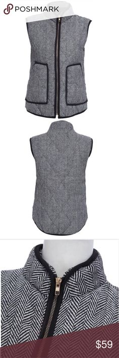 S-L Herringbone Quilted Vest ⭐️ This medium-weight quilted stitch vest features a trendy black and white herringbone print. 2 front pockets and brassy gold zipper down front. 100% polyester, lined. Available in Small (2-4), Medium (6-8), Large (10-12) GIANNALUXURY Jackets & Coats Vests