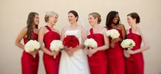 colored bouquet for bride, white for bridesmaids