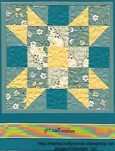 """handmade card: Get Well Quilt ... used 3/4"""" squares to create a 5X5 pattern ... square within a square ... Stampin' Up!"""