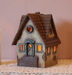 Clay House #9   Harry Tanner Design  Ceramic night lite or garden sculpture  fairy elf house