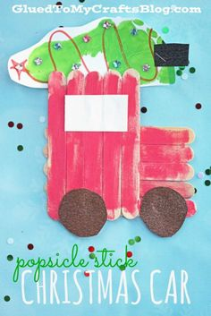 Popsicle Stick Christmas Tree Car – Kid Craft Idea Source by Stick Christmas Tree, Christmas Car, Preschool Christmas, Christmas Activities, Christmas Crafts For Kids, Christmas Projects, Christmas Themes, Holiday Crafts, Christmas Tree With Toddler