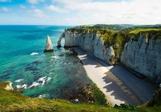 cliffs of etretat and yport, france photo