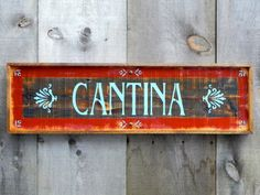 Cantina Sign Wood Signs Indoor and Outdoor Signs by CrowBarDsigns, $40.00 Love the use of brass Tacks!