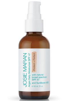 WHAT IT IS: Josie Maran Argan Daily Moisturizer SPF 47 Protect + Perfect WHY WE LOVE IT: This subtly tinted version of the brand's popular daily moisturizer shields the sun's rays with all-natural zinc and titanium oxide, which won't cause flare-ups in sensitive skin. The hydrating blend also boosts sun protection and allover skin happiness with a duo of antioxidants (green tea, argan oil). Josie Maran tinted moisturizer, $36, josiemarancosmetics.com.