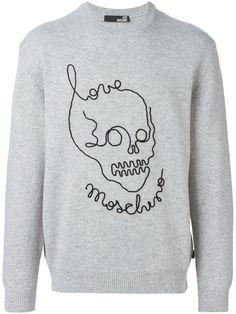 c5d08cecab94d8 Love Moschino 骷髅标志印花套头衫 Moschino, Sketching, Graphic Sweatshirt, Sketch,