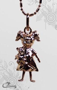 Pingente Menina 3D - 10 camadas de ouro 18k - Joias Carmine