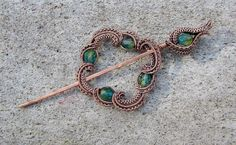 SHAWL PIN, Wire Wraped Copper Pin and Circle; Broach Pin in Copper; Czech Blue Green Crystal Pin in Copper by BentMetalsandBeads on Etsy