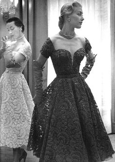 Beaded and sequined embroidered lace dresses by Pierre Balmain, Paris, 1952.