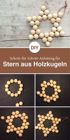 Here is an accurate step-by-step guide to this beautiful wooden ball star. balls star - - ideen dekoration holz Here is an accurate step-by-step guide to this beautiful wooden ball star. Christmas Time, Christmas Crafts, Christmas Ornaments, New Crafts, Diy And Crafts, Diy Natal, Deco Design, Wooden Diy, Wooden Crafts
