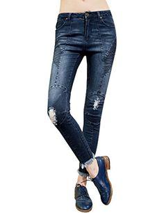 Junior Hole Bleached Long Jeans Pants Denim Blue
