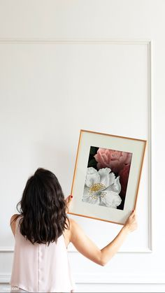 Curator hanging floral art frame on the wall mobile phone wallpaper | premium image by rawpixel.com / eyeeyeview Grey Picture Frames, White Picture Frames, Grey Pictures, Poster Display, Silhouette Painting, Pink Hydrangea, Hanging Frames, Blue Painting, Girl Decor