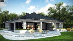 Projekt domu Z378. Parterowy dom z garażem dwustanowiskowym.