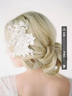 really nice embellishment on this one - we could wait and see what kind of lace your dress features, and maybe try and get some extra to make the veil out of? LEILA Birdcage Veil with Lace Combs Lace Birdcage Vintage Birdcage Veils, Vintage Wedding Hair, Wedding Hair And Makeup, Wedding Hair Accessories, Hair Makeup, Wedding Hairstyles With Veil, Side Hairstyles, Fascinator, Estilo Shabby Chic