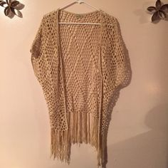 Beige Fringe Kimono Beige crochet design; fringe at the bottom Sweaters Cardigans