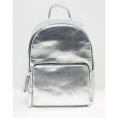 Skinnydip X Coke Metallic Backpack (£50) ❤ liked on Polyvore featuring bags, backpacks, silver, metallic backpack, metallic bag, zip top bag, day pack backpack and backpack bags