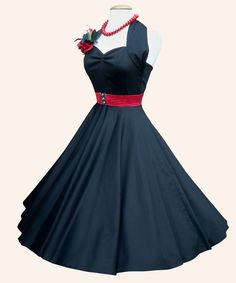 Rockabilly 50's Dress, Black Sateen. Super Cute!