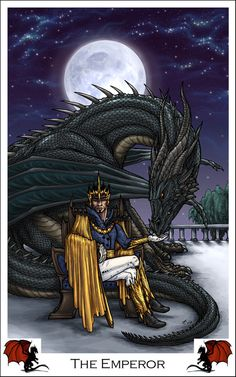 It came out well I think. Read more about the Dragon Tarot Project here:[lin. Dragon Tarot - The Emperor Major Arcana Cards, Tarot Major Arcana, The Emperor Tarot, Tarot Cards For Beginners, Tarot Astrology, Online Tarot, Oracle Tarot, Dragon Pictures, Tarot Readers