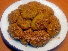 """Melomakarona orange - from """"The grandmother's dishes"""" Greek Recipes, Dog Food Recipes, Dessert Recipes, Desserts, Greek Cookies, Greek Sweets, Almond, Dishes, Baking"""
