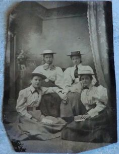 1895 Tintype Photo of 4 Young Women in Matching Hats. Names, Location and Date Listed on plastic sleeve that covered photo.