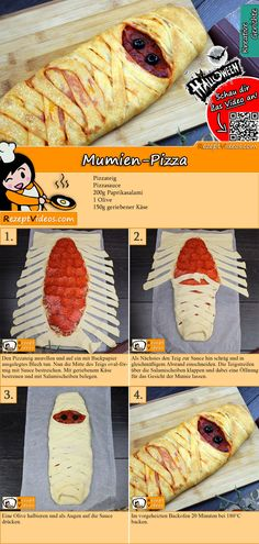 Mummy Pizza Recipe with Video - Halloween Recipes - Pizza Re .- Mumien-Pizza Rezept mit Video – Halloween Rezepte – Pizza Rezept This mummy pizza makes your blood freeze! The mummy pizza recipe video is easy to find with the help of the QR code :] - Video Halloween, Halloween Pizza, Soirée Halloween, Halloween Dinner, Halloween Desserts, Halloween Food For Party, Halloween Treats, Homemade Halloween, Halloween Costumes