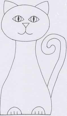 Abstract Art Cat – Art Projects for Kids – Art World 20 Drawing Lessons For Kids, Art Drawings For Kids, Easy Drawings, Art Lessons, Art For Kids, Puppet Crafts, Cat Crafts, Animal Crafts, Cat Template