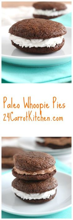 Grain, gluten and dairy free Whoopie Pies!  Click for recipe or re-pin for later! grain free, gluten free, dairy free, paleo, whoopie pies, chocolate, dessert