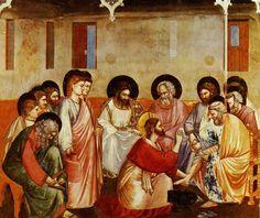 Iconografia e Simbologia na Arte Cristã: Iconografia dos Mistérios de Jesus Cristo  Jesus lava os Pés aos Apostolos, Giotto