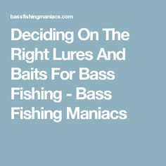 Deciding On The Right Lures And Baits For Bass Fishing - Bass Fishing Maniacs