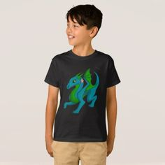 Blue Green Dragon Kids Shirt - kids kid child gift idea diy personalize design