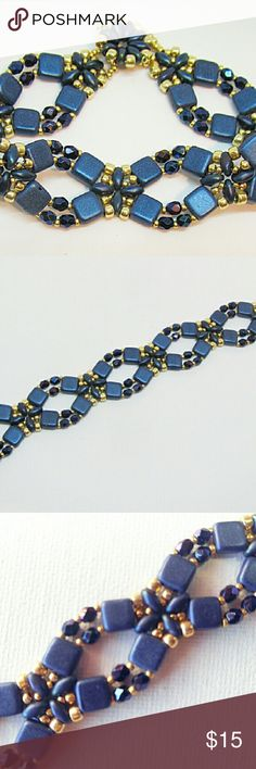 Blue Beaded Bracelet Czech two-hole beads and blue firepolish beads accented with gold seed beads, button closure. Other colors available; customizable. Jewelry Bracelets