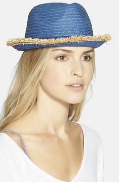 T+C by Theodora & Callum Frayed Edge Straw Fedora available at #Nordstrom