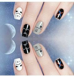These Star Wars Nail Art looks include both the dark and the bright side - Nail Art Designs Love Nails, How To Do Nails, My Nails, Star Wars Nails, Gothic Nails, Cute Nail Designs, Disney Nail Designs, Trendy Nails, Nail Arts