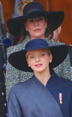 Princess Caroline wore a large black Garbo-style picture hat with slightly floppy brim. While this hat was also quite simple in design, the height of the crown, the shape of the brim and the ribbon around the crown created more visual interest than Charlene's hat did. Granted, an impeccably tailored Chanel suit will make any hat look amazing!