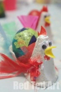 Egg Carton Hens for Easter - Red Ted Art's Blog