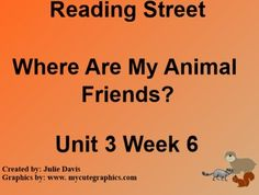 This is a SmartBoard activity to accompany Scott Foresman's Reading Street Unit 3 Where Are My Animal Friends? This is a 5 day lesson with multiple activities for each day that include high frequency words good-bye & before, contractions with not, sound of -dge, comparative endings, journal activities, games, videos and much more.