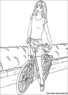 Barbie On A Bike Coloring Page From Category Select 28148 Printable Crafts Of Cartoons Nature Animals Bible And Many More