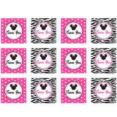 free minnie mouse printables | MINNIE MOUSE ZEBRA THANK YOU TAGS