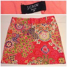 J Crew 6 Straight Pencil Mini Stretch Pink Neon Floral Retro Printed Skirt #JCREW #StraightPencil