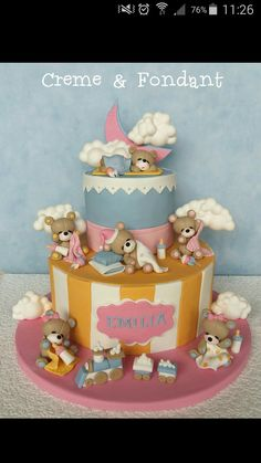 Time for sleep. - Cake by Creme & Fondant One Year Birthday Cake, Half Birthday Cakes, Fondant Cakes, Cupcake Cakes, Teddy Bear Cakes, Baby Cupcake, Fall Cakes, Dessert Decoration, Baby Shower Cakes