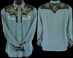 Outstanding California Ranchwear Men's Vintage Western Embroidered Shirt, Size…