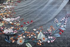 Organza Flowers, Embroidered Flowers, Got Married, Getting Married, Flower Veil, Wedding Veil, Tulle, Embroidery, Bridal