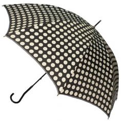 Black with White Polka Dots Umbrella, Classic, style, love rainy days. Available @ www.let-it-rain.com