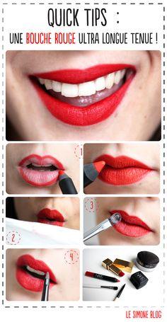 bouche rouge qui tient; http://lesimoneblog.fr/quick-tips-une-bouche-rouge-ultra-longue-tenue/