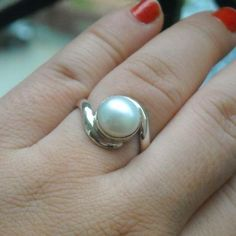 June birthstone ring, silver pearl ring, engagement promise ring