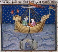 Enluminure française, Rouen, avant 1445. D'une traduction française du Roman d'Alexandre du pseudo-Callisthène, partie du Shrewsbury Talbot Book of Romances, dédié à Marguerite d'Anjou, femme d'Henri VI d'Angleterre.