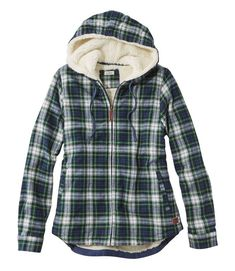 Scotch Plaid Flannel Shirt, Sherpa-Lined Zip Hoodie Plaid Shirt Outfits, Plaid Hoodie, Flannel Jacket, Plaid Shirts, Hoodie Outfit, Plaid Flannel, Zip Hoodie, Cool Shirts, Women's Shirts