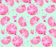 pink grapefruit on turquiose fabric by erinanne on Spoonflower - custom fabric