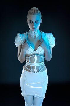tron inspired by Artifice Clothing -- photography by Aesthetic Alchemy, model is Miss Gretta -- white Tron Costume, Futuristic Costume, Space Fashion, Fashion Design, Pvc Skirt, Latex Costumes, Future Fashion, Dark Fashion, Mardi Gras