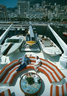 Transport Buffs by Slim Aarons A helicopter and two motor boats adorn the deck of a luxury yacht where Roy J Craven and Prince Pouilnac are chatting in Monte Carlo harbour. Slim Aarons, Jet Privé, Jet Ski, Jonathan Adler, Catamaran, Monte Carlo, Wood Boat Plans, Yacht Boat, Boat Dock
